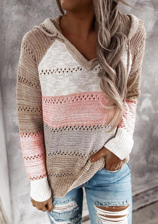Color Block Hollow Out Drawstring Knitted Hoodie - Pink