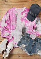 Tie Dye Batwing Sleeve Sweatshirt - Pink