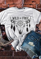 Wild And Free Steer Skull Feather Floral T-Shirt