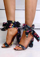 Floral Tie Open Toe Ankle Strap High-Heeled Sandals