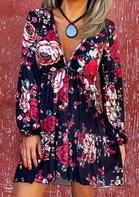 Floral Ruffled Lantern Sleeve V-Neck Mini Dress