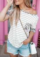 Striped Leopard Splicing Pocket T-Shirt