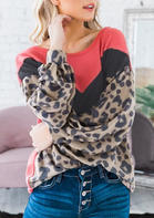 Leopard Color Block Long Sleeve Sweatshirt