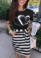 Striped Splicing Heart Mini Dress