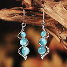 Bohemian Creative Gemstone Wave Curved Pendant Earrings