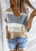 Color Block Cut Out Knitted Sweater