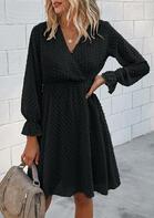 Wrap V-Neck Elastic Cuff Mini Dress