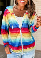 Rainbow Striped Zipper Pocket Hoodie