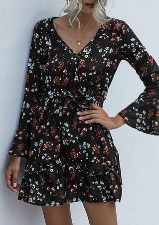 Floral Ruffled V-Neck Mini Dress - Black