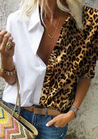 Leopard Splicing V-Neck Shirt
