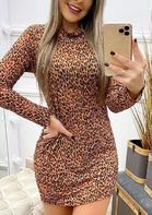 Leopard Long Sleeve Mini Dress