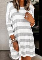 Striped Pocket O-Neck Mini Dress
