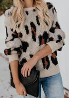Leopard Long Sleeve O-Neck Sweater