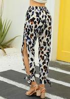Leopard Pocket Slit Tie Pants