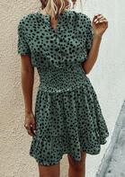 Leopard Ruffled Button V-Neck Mini Dress