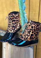 Leopard Waterproof Lace Up Duck Boots