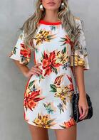 Floral Splicing Cut Out Mini Dress