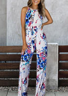 Floral Halter Button Jumpsuit