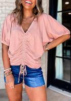 Ruffled Drawstring Elastic Cuff V-Neck Blouse - Pink