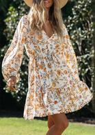 Floral Ruffled Button Elastic Cuff Mini Dress