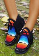 Rainbow Striped Tassel Tie Hand Stitched Slip On Boots