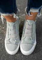 Elastic Band Flat Zipper Canvas Sneakers