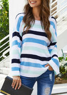 Striped O-Neck Knitted Long Sleeve Loose Sweater