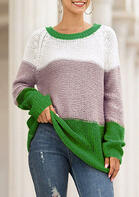 Bellelily coupon: Color Block O-Neck Knitted Pullover Sweater - Green