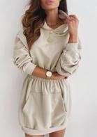 Elastic Waist Kangaroo Pocket Mini Hoodie Dress