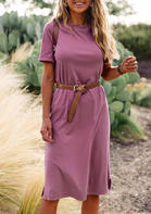 Slit O-Neck Casual Dress without Belt