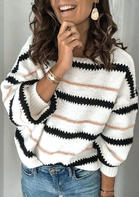 Bellelily coupon: Striped Long Sleeve Pullover Sweater - White