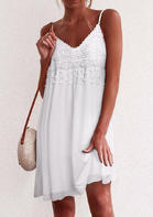 Lace Splicing Tassel Spaghetti Strap Mini Dress