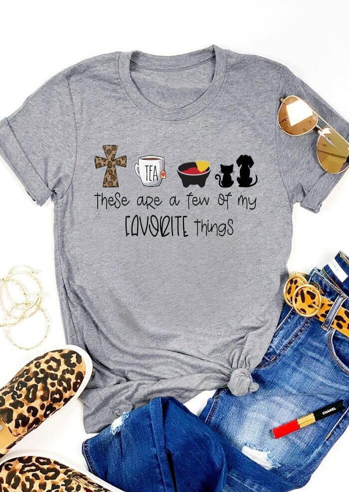 Leopard Cross Pet Are My Favorite Things T-Shirt Tee - Light Grey