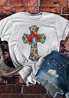 Leopard Cross Rose T-Shirt Tee - Light Grey