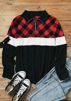 Plaid Color Block Zipper Collar Blouse