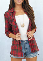 Plaid Pocket Button Asymmetric Shirt