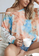 Tie Dye Lace Splicing Blouse