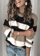 Bellelily coupon: Color Block Striped Splicing Knitted Sweater