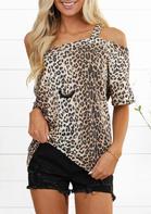 Leopard One Cold Shoulder Blouse