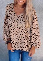 Leopard Elastic Cuff V-Neck Blouse