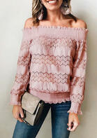 Hollow Out Floral Lace Splicing Off Shoulder Blouse