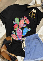Cactus Paisley Floral O-Neck T-Shirt