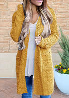 Bellelily coupon: Pocket Long Sleeve Soft Sweater Cardigan - Yellow