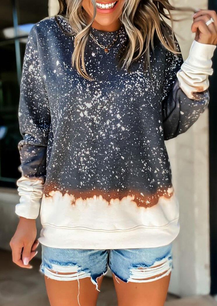 Color Block Bleached Pullover Sweatshirt