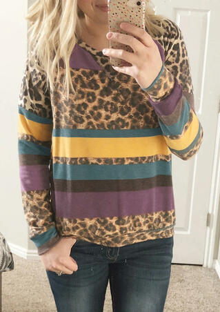Colorful Striped Splicing Leopard Sweatshirt