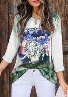 Steer Skull Floral Gradient T-Shirt
