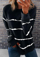 Striped Slit Long Sleeve Sweatshirt