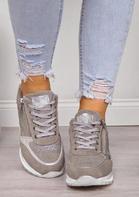 Rhinestone Zipper Splicing Lace Up Platform Sneakers
