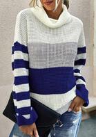 Color Block Striped Turtleneck Sweater