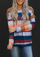 Striped Long Sleeve O-Neck Blouse